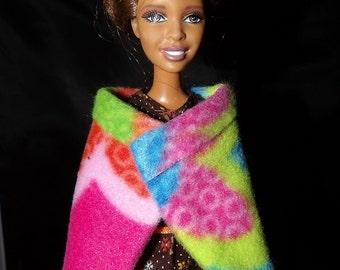 Fashion Doll Coordinates - Colorful wrap cape in Fleece - es359