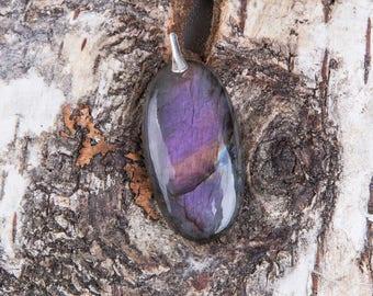 Purple labradorite pendant, silver natural labradorite pendant, oval natural untreated violet, blue labradorite, unique rare flash
