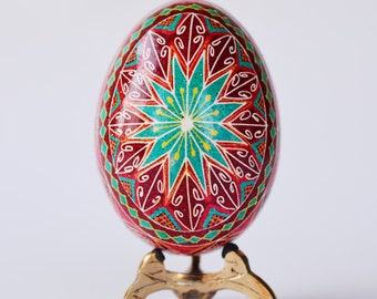 Pysanka ornament turquoise and red Pysanka Ukrainian easter egg