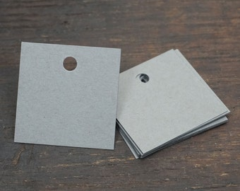 Square Gift Tags, Gray, 2 x 2 Inches, Set of 50, Blank Tags. Gifts Accessory, Wedding, Birthday, Christmas, Holiday, Party Favor, Bag Tag