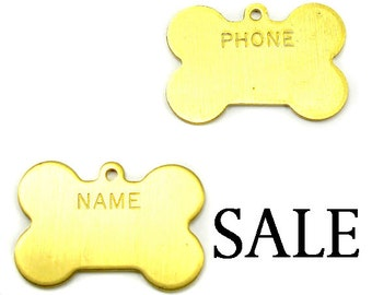 Small Brass Engraving Dog Tag Charms (6X) (M660) SALE - 25% off