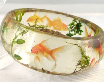 Bangle, bracelet, resin, goldfish
