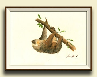 PRINT-Sloth animal - Two toed sloth painting watercolor - Sloth art nursery forest animal decor - Art Print by Juan Bosco