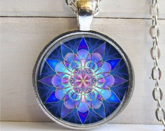 Mandala Pendant, Mandala Art Necklace Soothing Blue Mandala, Yoga Jewelry
