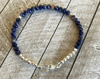 AAA Sodalite and Sterling Silver Bracelet - Free U.S. Shipping
