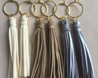 Gold Soldered Ring Tassel Earrings