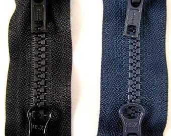 "Plastic Two Way Plastic Open End Zips / 56cm - 76cm (22"" - 30"")"