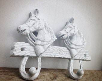 BOLD shabby white horse double wall hook // country cottage rustic // coat towel robe hook // western kids cowboy