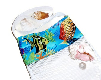 Sea Shell Collection Bag, Beachcomber Bags, Crossbody Shell Bag, Mesh Beach Bag, Kids or Adults Shell Bag, Tropical Fabric, By DonnaLeeBags