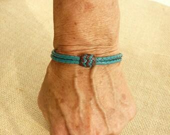 Braided Kangaroo Leather Bracelet - Shabby, Chic, Boho, Cowgirl, Friendship, Pineapple Knots