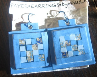 light blue*paper*patchwork*earrings