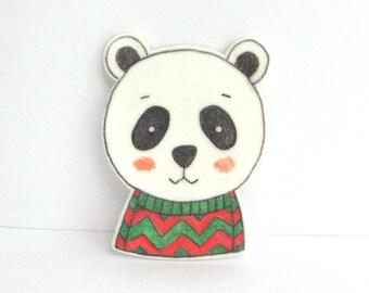 Bear with Sweater Brooch. Bear Pin