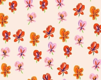 Heather Ross - Sleeping Porch - Sleeping Pansies Blush 42206 5 Windham Fabrics - Sold by the Half Yard