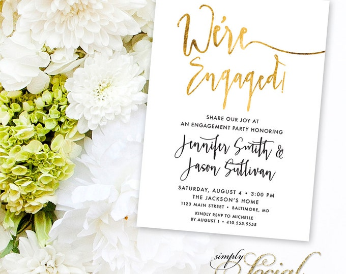 Calligraphy Engagement Party Invitation - Faux Gold Foil Classy Black and White Calligraphy Typography We're Engaged Printable