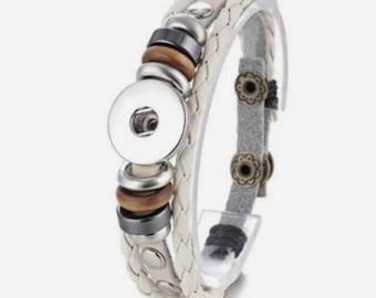 Bracelet braided leather, snap, Brown bracelet, bracelet leather mixed, interchangeable bracelet, bracelet clip, adjustable bracelet