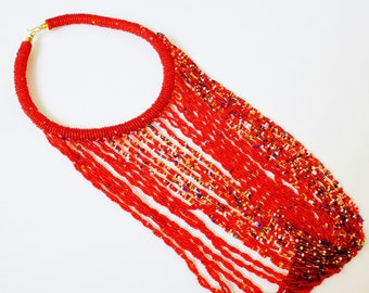 Beaded Twisted-Fringe Loop Necklace - Red & Multicolor