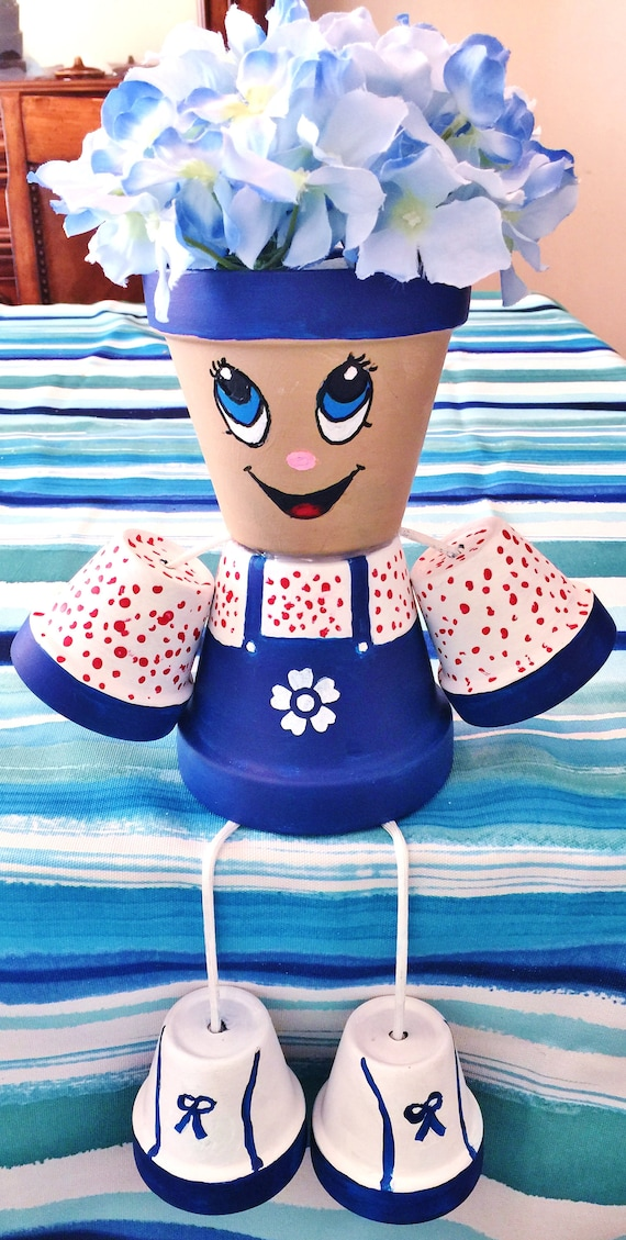 Boy Overalls Red White Blue Flower Dots Clay Pot Head People Terra Cotta