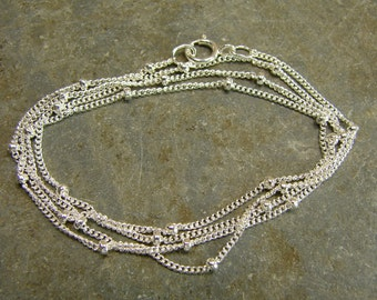 Sterling Silver Satelite Chain - 16 Inch With Clasp - One Piece - s16p