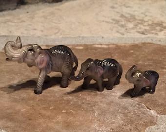 Vintage Miniature Porcelain Grey Wrinkly Elephant Family Trio Figurines - Set of 3