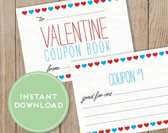 Printable Valentine's Day Coupon Book. Editable PDF. DIY Valentine. Instant Download. Love Coupon Book.