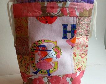 Patchwork vintage fabric project bag