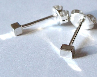 Tiniest Rectangle Studs Sterling Silver Stud Earrings Post Earrings Studs