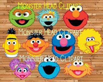 Sesame Street Character Head Digital Clipart