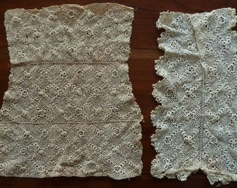 Two handmade Irish crocheted lace panels - 1900's