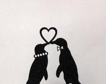 Wedding Cake Topper - Penguins in Love wedding cake topper, Penguin silhouette topper,