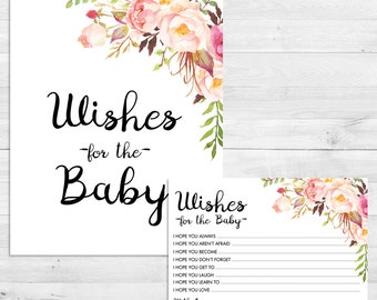 Wishes For Baby, Boho, Floral, Watercolor, Baby Shower Games, Wishes For Baby Sign, Instant Download