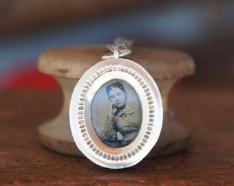 Antique French Silver Reliquary Pendant Necklace with 19th Century Tintype - The Thinker