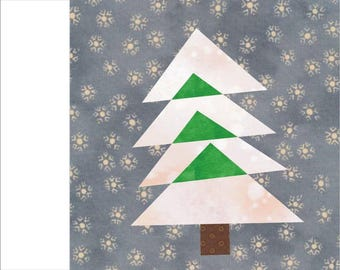 Christmas Tree #1 Paper pieced quilt block  PDF Pattern INSTANT DOWNLOAD