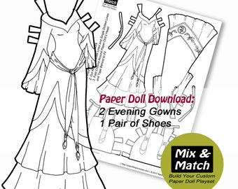 Fantasy Princess Printable Paper Doll- Mix & Match Digital Paper Doll Coloring Page- Dress Up Doll- Medieval Fantasy Paper Doll Download