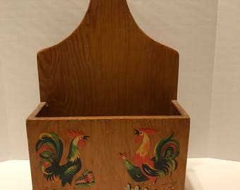 Rooster Decorated Wooden Box