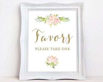 Favors Sign, Floral, Printable, INSTANT DOWNLOAD Wedding Favors Sign, Shower Favors Sign, Pink Flowers, The Colette