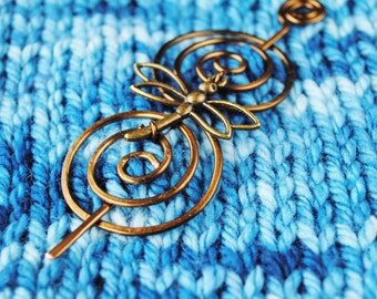 Dragonfly Shawl Pin in Vintage Bronze