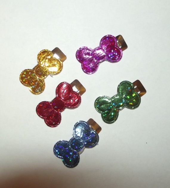 SALE! Puppy Bows ~ dog hair TINY pet snap clip bowknots  (fb43)