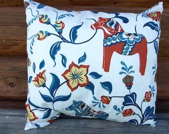 Pillow cover white orange red blue yellow Dala Horses Scandinavian Design Decorative pillow for Throw pillows Floor Cushions Accent Pillows