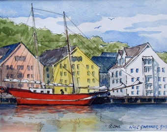 """Watercolor  Limited Edition Print - Tromso Harbor, Norway -  double matted to 8"""" x 10"""", art"""