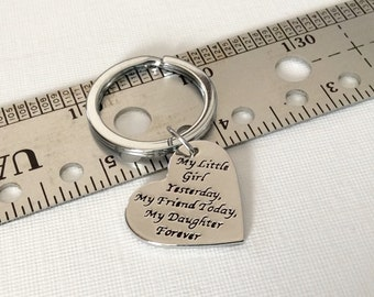 "1 - ""My little girl yesterday, My friend today, My daughter forever"" Mother Daughter key chain, Family key ring, Stamped Pendant"