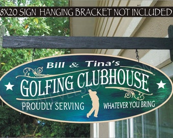 Personalized Golf Sign, Custom Golfer Gift, 19th Hole, Family Name Aluminum Waterproof Painted Sign