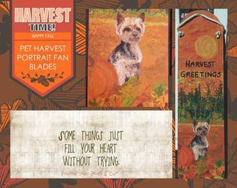 Récolte de voeux des animaux de compagnie, pale de ventilateur, citrouille, Yorkie, porte suspendue, Tenture murale, décor d'automne, amant d'animal familier, tombent les feuilles, récolte heureuse, chute