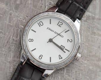 Meteorite Wrist Watch, Polished Metal Watch With Alligator Grain Leather, Gibeon Meteorite Watch, Space Jewelry, Johan Eduard Watches