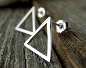 Silver Triangle Earrings. Sterling Silver Open Triangle Earrings. Sterling Silver Post. Geometric Earrings. Geometric Jewelry. Minimal