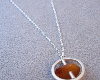 round sterling silver pendant w/Baltic Amber (your choice of color - made to order) - necklace