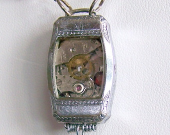 Steampunk Necklace -- Trapped Watch Movement  SN186