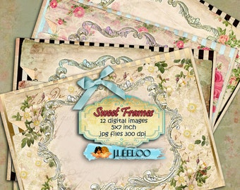 SWEET FRAMES 12 postcard - flower texture writable Digital collage sheet for invitations hang tags greetings cards annuncements - pp228