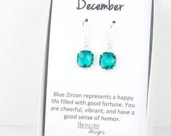 Décembre bleu naissance Zircon boucles d'oreilles argentées, boucles d'oreilles argentées, bleu Zircon carré en argent boucles d'oreilles, Pierre de naissance décembre
