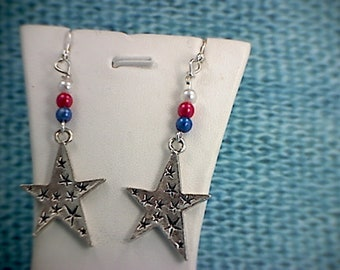 Patriotic Red, White & Blue Star Dangle Earrings (2)