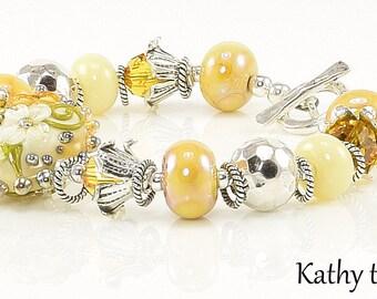 Lampwork Bracelet - Lampwork Yellow Flower Sterling Silver Karen Hill Tribe Bead Bracelet - KTBL